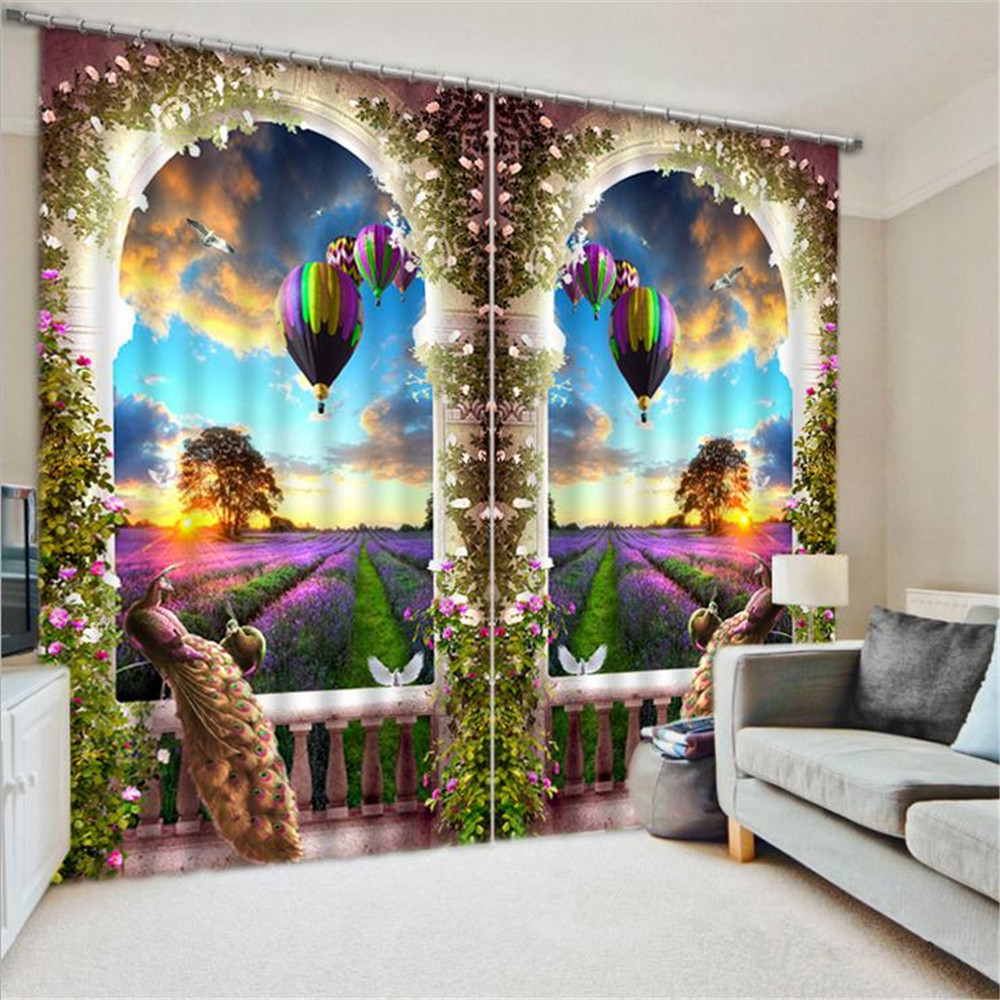 Fast free shipping peacock 3d printing blackout curtains for Living room quilt