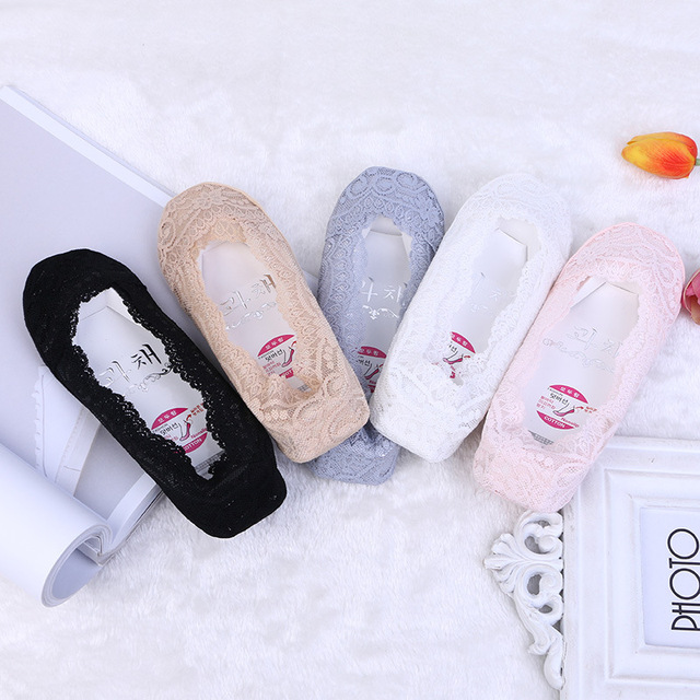 5 Pairs/lot Women Sock Cotton Blend Antiskid Invisible Silicone Non-slip Low Cut Woman Socks Stealth Ice Silk Lace Boat Socks