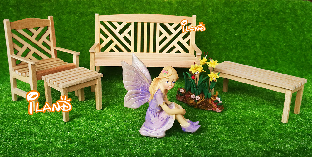 New 112 Dollhouse Miniature Furniture Unpainted Table Chair 4 pcs Garden Furniture