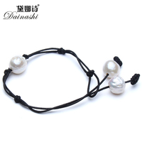 2017 Simple Ethnic Handmade Braided Hide Rope Bracelet With Three Big Pure Natural Baroque Pearls For