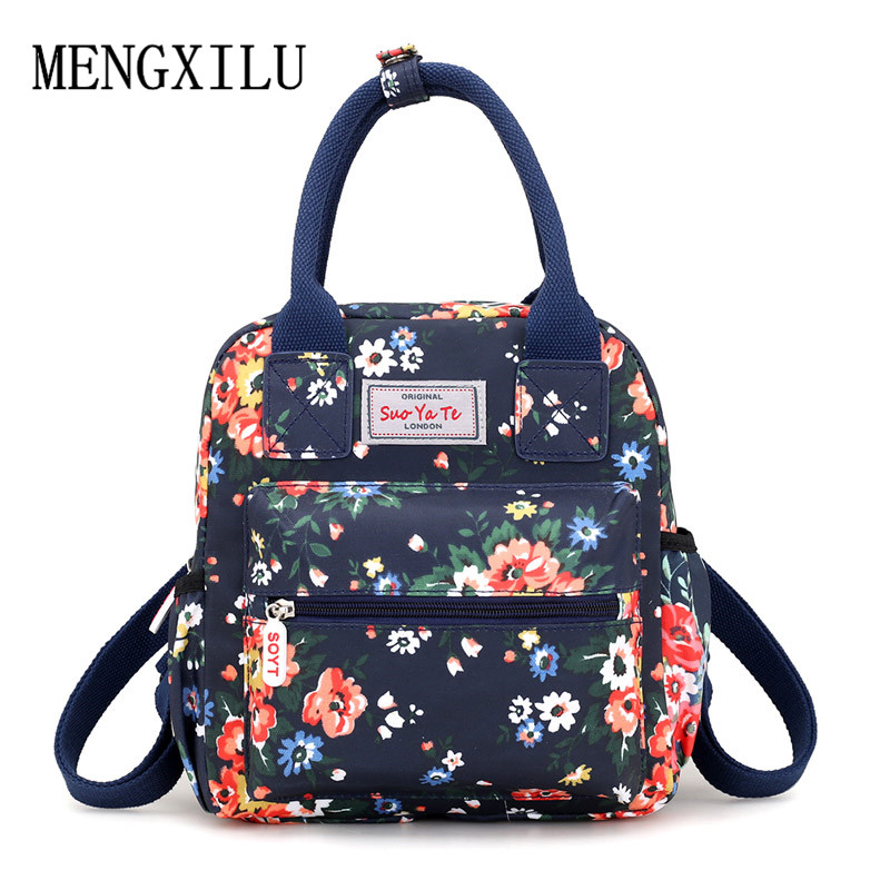 Waterproof Women Backpacks Female Casual Printing School Bags For Teenage Girls Rucksack Small Nylon Flowers Bagpack Mochila цена 2017