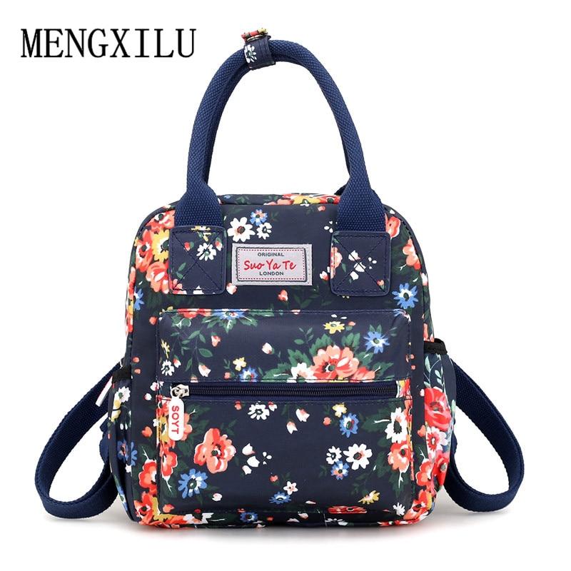 Waterproof Women Backpacks Female Casual Travel Bag Printing School Bags For Girls Rucksack Small Nylon Flowers Bagpack Mochila
