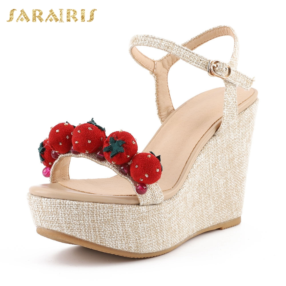 Sarairis New Big Size 33-40 Sweet Strawberry Ladies Wedges High Heels Shoes Woman Casual Party Sexy Summer Sandals 2019Sarairis New Big Size 33-40 Sweet Strawberry Ladies Wedges High Heels Shoes Woman Casual Party Sexy Summer Sandals 2019