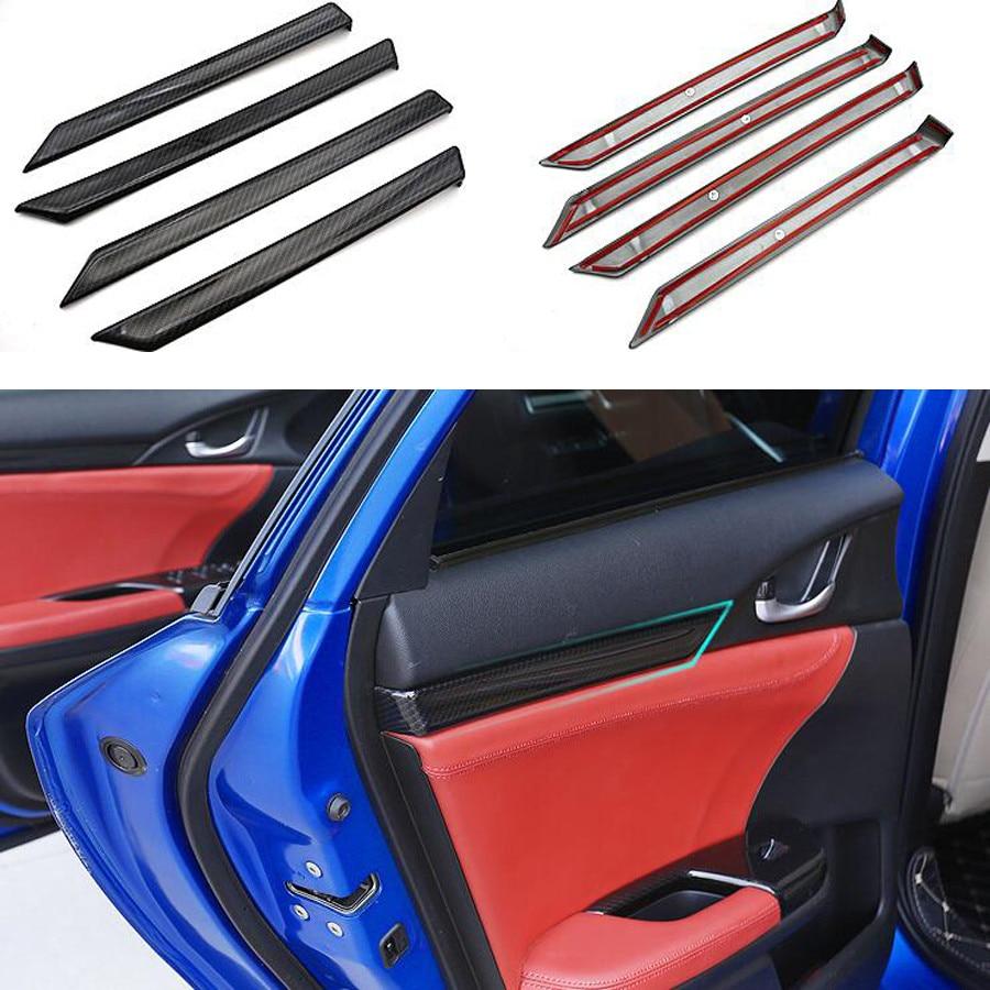 Carbon Fiber Car Inner Storage Box Handle Cover Trim For Ford Explorer 2016-2018