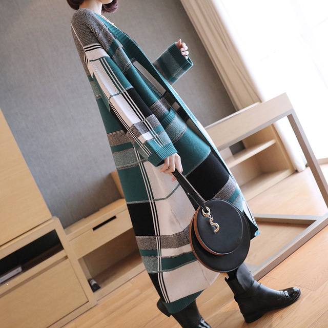 Long Thickened Knitted Overcoat Large Plaid Female Spring Autumn 2019 Chequered Sweater Korean Fashion Loose Sweater Opener