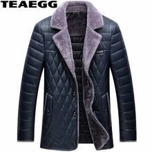 TEAEGG Casual Royal Blue Faux Leather Jacket Man Parka Homme Warm Pu Leather Jacket Men Clothing Jackets Plus Size 4XL AL545