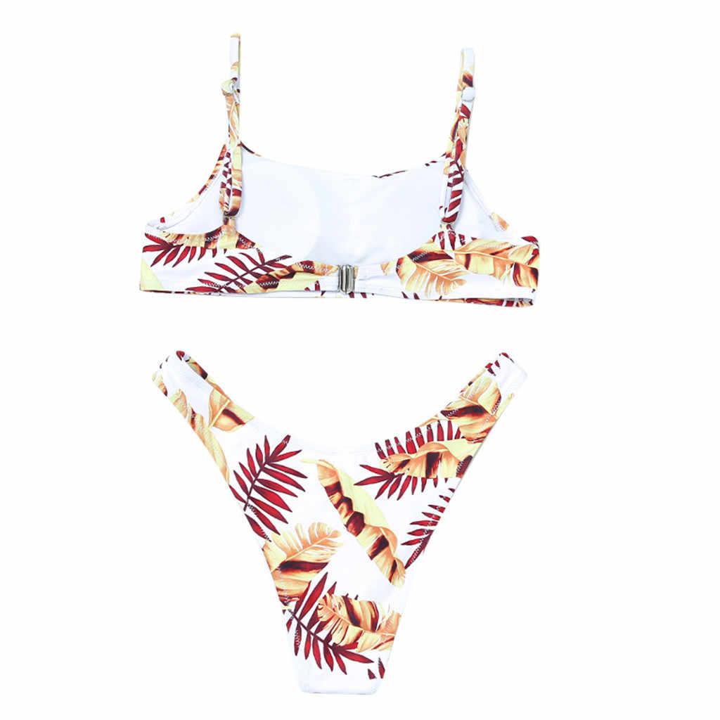 Wanita Gambar Bunga Surf Baju Renang Baju Renang Wanita Biquini Tankini Plavky Vintage Bather Brasil Bikini Set Swimwear Maillot