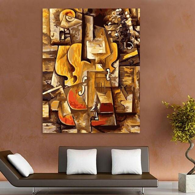 Färbung Durch Zahlen Picasso Violine Digitalen Malen Nach Zahlen Abstrakte ölgemälde Modulare Malerei Moderne Wohnkultur Leinwand Kunst