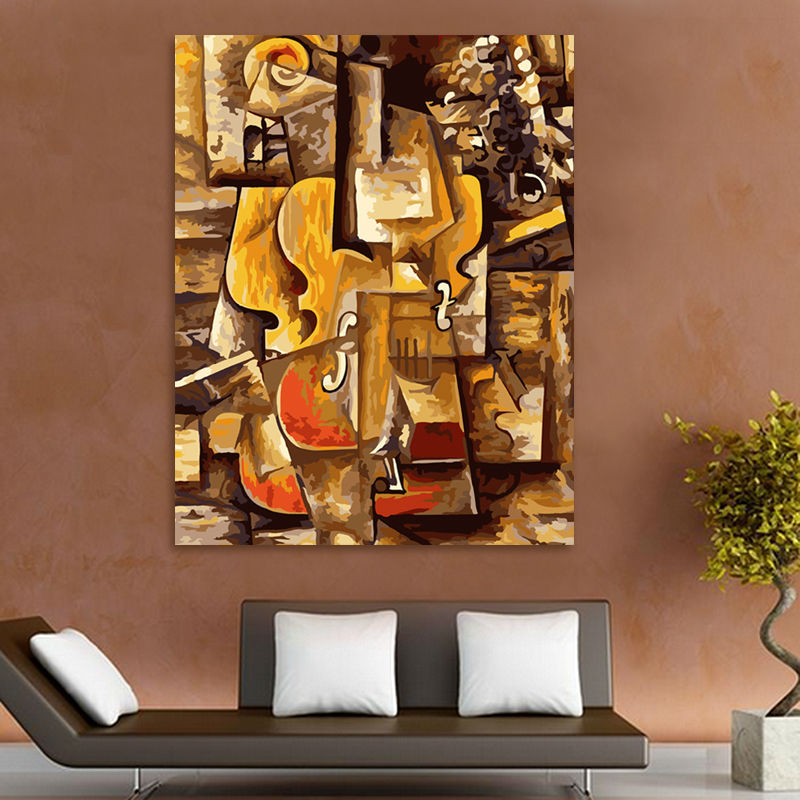 coloring by numbers Picasso violin digital paint by numbers abstract oil painting modular painting modern home decor