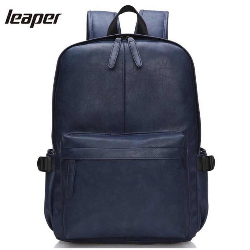 d7aa8c5478dc Прыгун рюкзак Для мужчин из искусственной кожи Водонепроницаемый школьные  сумки для подростков Модная молодежная путешествия маленький