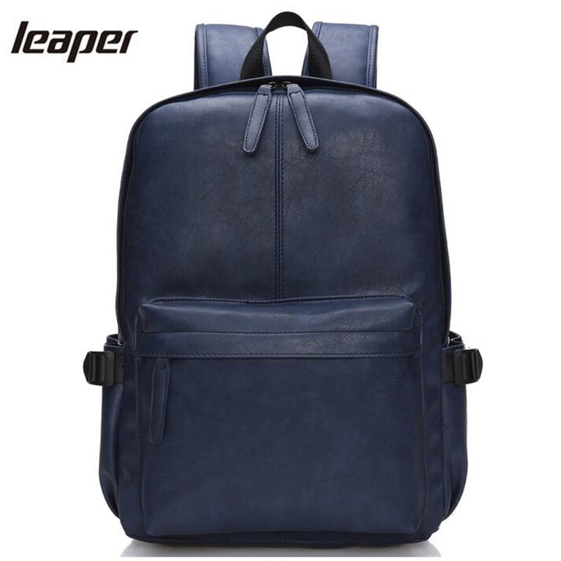 Leaper Backpack Men Pu Leather Waterproof School Bags For Teenagers Fashion Student Travel Small Designer Laptop Backpack Men laptop 14 15 inch notebook computer backpack men s travel black backpacks brand waterproof pu leather school bags for teenagers