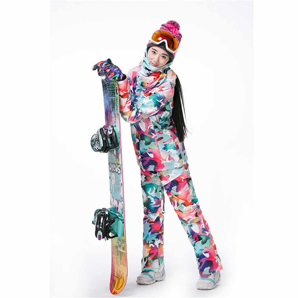 2018 женский лыжный костюм зимняя одежда водонепроницаемый ветрозащитный лыжный сноуборд куртка брюки женский Русский стиль костюм Набор Новый