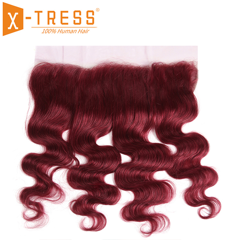 Burgundy Red Color Body Wave Human Hair Lace Frontal X-TRESS Brazilian Non-Remy 13x4inch Ear To Ear Middle/Free Part Closures