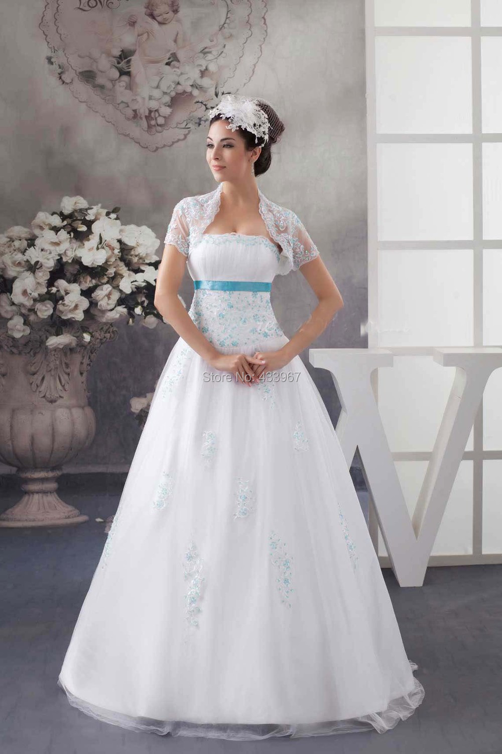 Strapless A Line Long Wedding Dress With Lace Jacket And Turquoise Beads Floor Length Sweep Train Bridal Dresses 2017 New In From Weddings