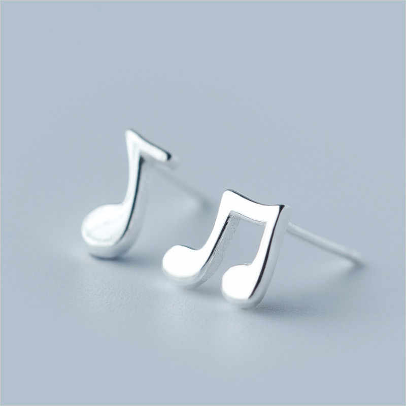 100% 925 Sterling Silver Music Stud Earrings For Women Girl Kids Wedding Jewelry Prevent Allergy brincos pendientes A087