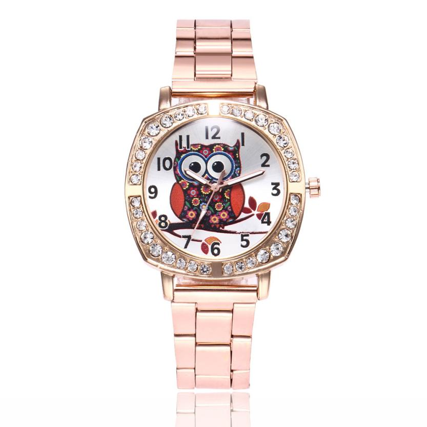 Best Sale 2018 Fashion Special Pattern Luxury Crystal Cute Owl Women Fashion Alloy Band Analog Quartz Round Wrist Watch Watches
