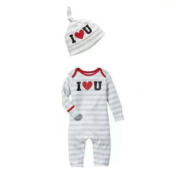 3 PIECES/ LOT 100% Cotton Unisex Baby Romper+Hat Red Heart Printing Cotton Infant Caps Jumpsuit Set Infant High Quality Clothes brushed cotton twill ivy hat flat cap by decky brown