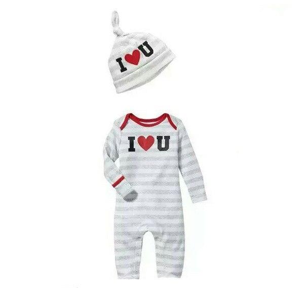 3 pièces/lot 100% coton unisexe bébé barboteuse + chapeau rouge coeur impression coton infantile casquettes combinaison ensemble infantile vêtements de haute qualité