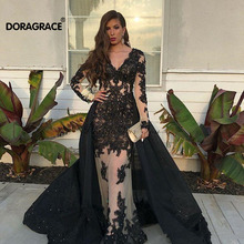 Doragrace Applique Beaded Long Sleeves Evening Dress Mermaid Prom Gown Black Party Dresses With Detachable Train