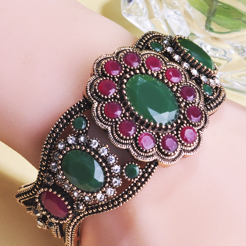 Blucome New Flower Shape Turkish Bracelet Bangles Resin Alloy Women's Girl Party Wedding Hand Decoration Large Jewelry Best Gift