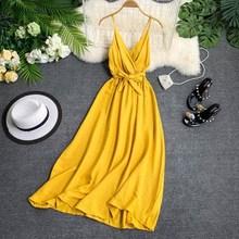 2019 Vintage Summer Dress Women White Black V Neck Sashes Knee-Length Sleeveless A Line Spaghetti Strap Beach Dress Vestido