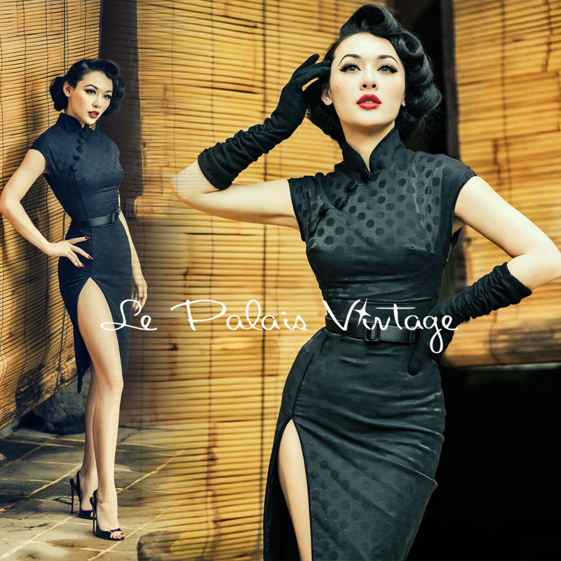 FREE SHIPPING Le Palais Vintage sexy retro dots elegant black jacquard repair sexy cheongsam slit height