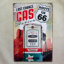 1 pc Route 66 Gas Station petrol Gasoline Tin Plates Signs wall Room man cave Decoration bar Art retro vintage Poster metal