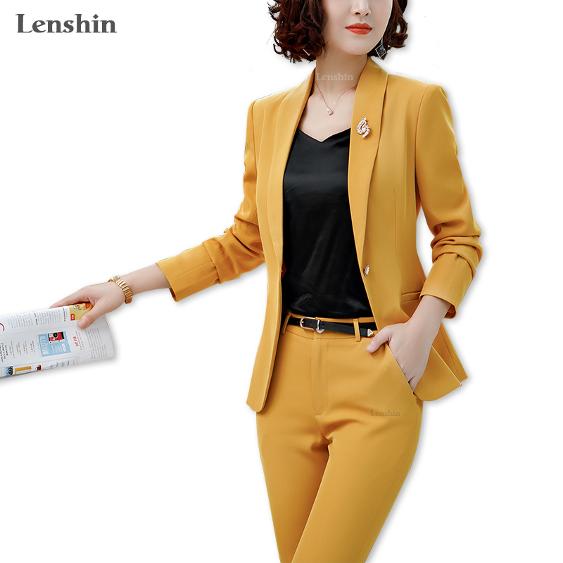 Lenshin 2 Pieces Set Shawl Collar Straight And Smooth Formal Pant Suit Office Lady Uniform Designs For Women Business Work Wear
