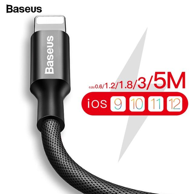 Usb-кабель Baseus для iPhone Xs Max XR X 8 7 6 6s 5 5S 5C SE iPad быстрое зарядное устройство для зарядки данных usb-кабель кабели для мобильных телефонов
