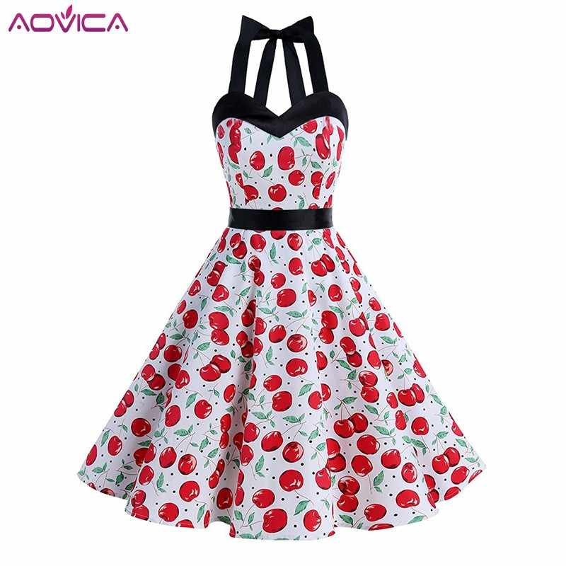 Aovica Women Summer Dress Ladies Cherry Retro Vintage Halter Dresses 50s 60s  Casual Party Robe Rockabilly e949932bb27f
