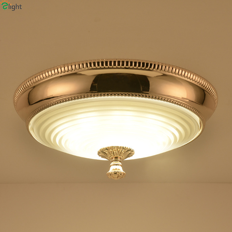 Europe Lustre Gold Metal Led Ceiling Lamp Simple Glass Shades Bedroom Led Ceiling Lights Luminarias Foyer Ceiling Light Fixtures