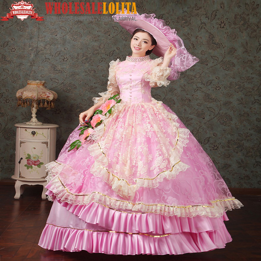 dd841d40fc72d القرن 18th ماري أنطوانيت حسناء فستان الزفاف medieval الروكوكو الأميرة  الحفلة الراقصة