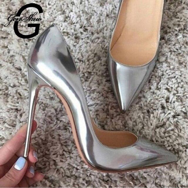 GENSHUO Women Pumps High Heels Silver Sexy High Heels Shoes for Women Stilettos Fashion Luxury Wedding Party Shoes Big Size