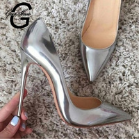 GENSHUO Women Pumps High Heels Silver Sexy High Heels Shoes for Women Stilettos Fashion Luxury Wedding Party Shoes Big Size