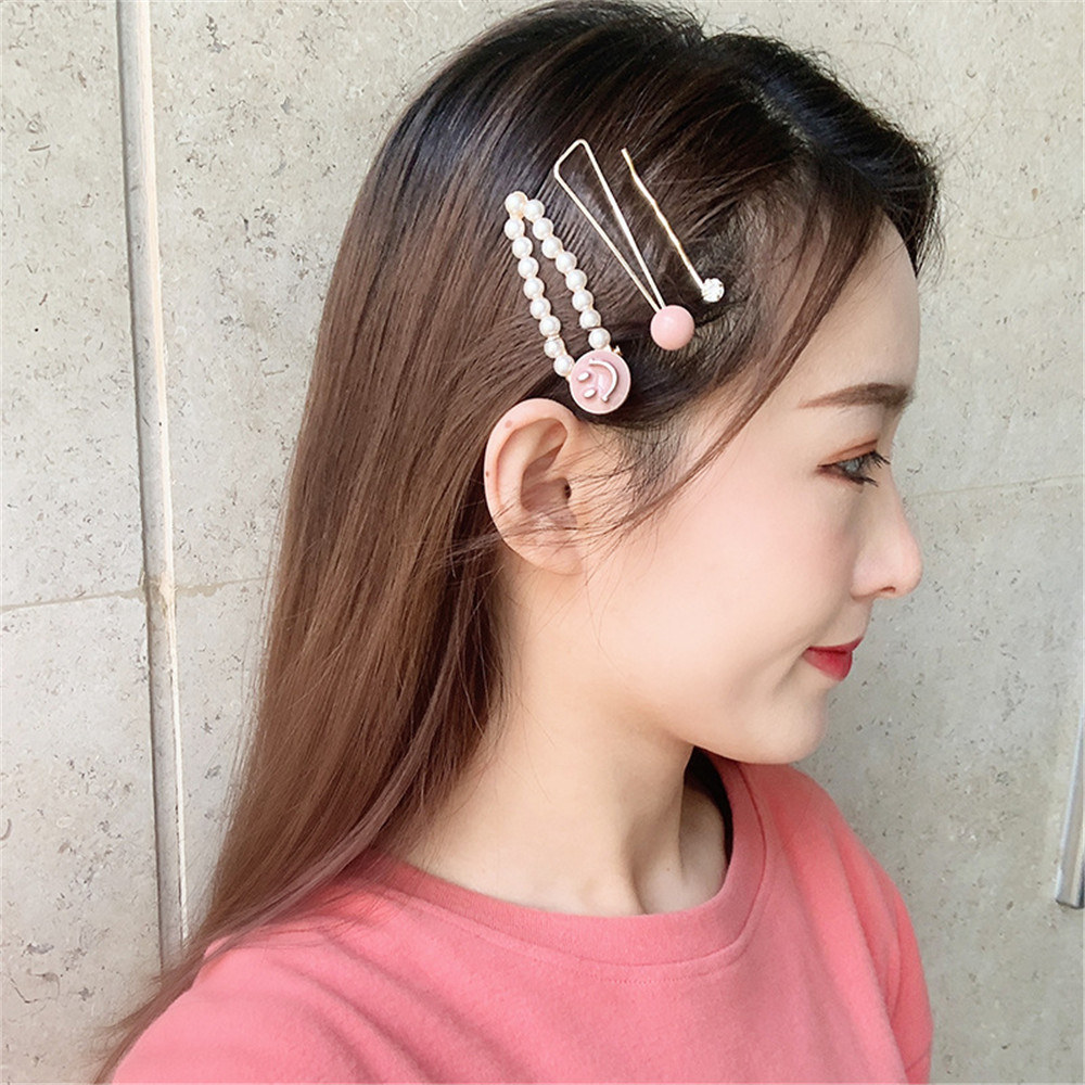 3pcs Se Fashion Women Metal Hairpins Imitation Pearl Colorful Beads Hair Clips Irregular Geometric Hair Styling Accessories in Hair Clips Pins from Beauty Health