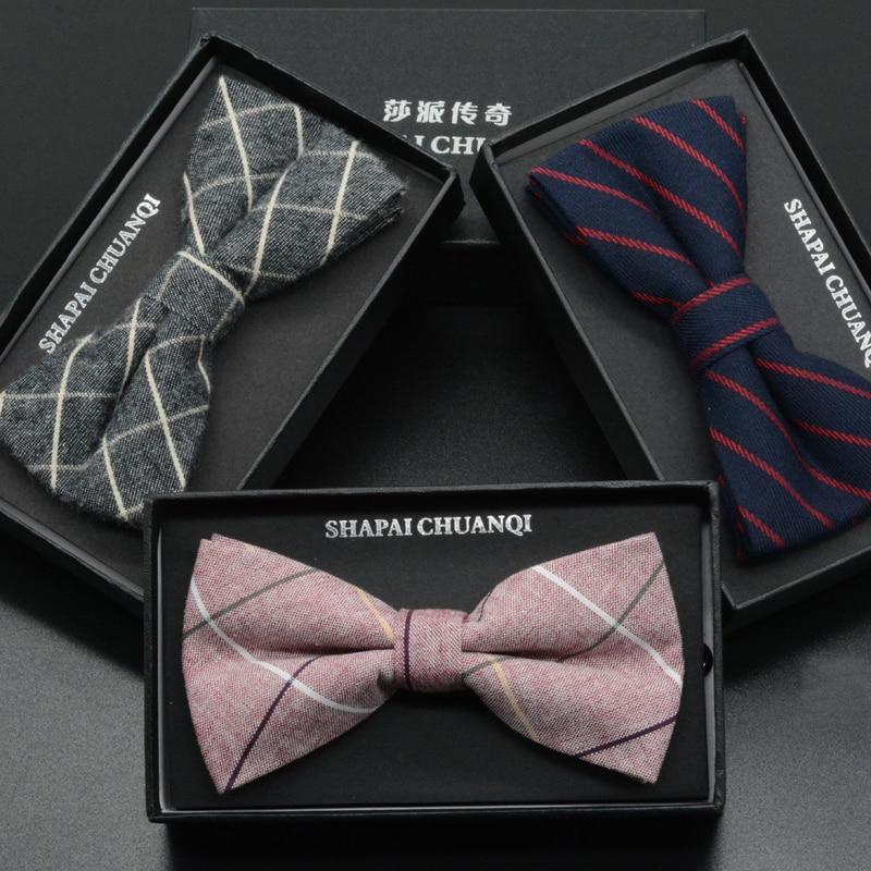 Mens Fashion Vintage Bowtie Check Artificial 100% Cotton Soft Striped Double Fracture Butterfly Men Bow Ties Designer Cravat
