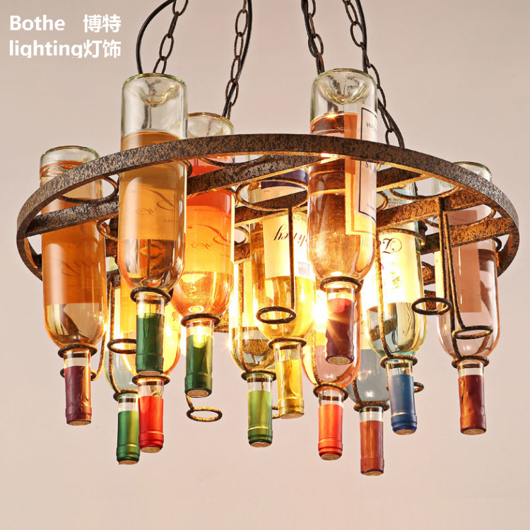 Loft Retro Hanging Wine Bottle Led Ceiling Iron Pendant Lamps E27 LED Pendant Lights For Living Room Bar Restaurant Kitchen Home