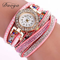 Duoya New Women Watches Leather Quartz-watch Fashion Rhinestone Bracelet Watch Multicolor Quartz Wristwatch Relogio Feminino