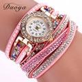 Duoya novas mulheres relógios pulseira da moda strass relógio de quartzo-relógio de couro multicolor quartz relógio de pulso relogio feminino