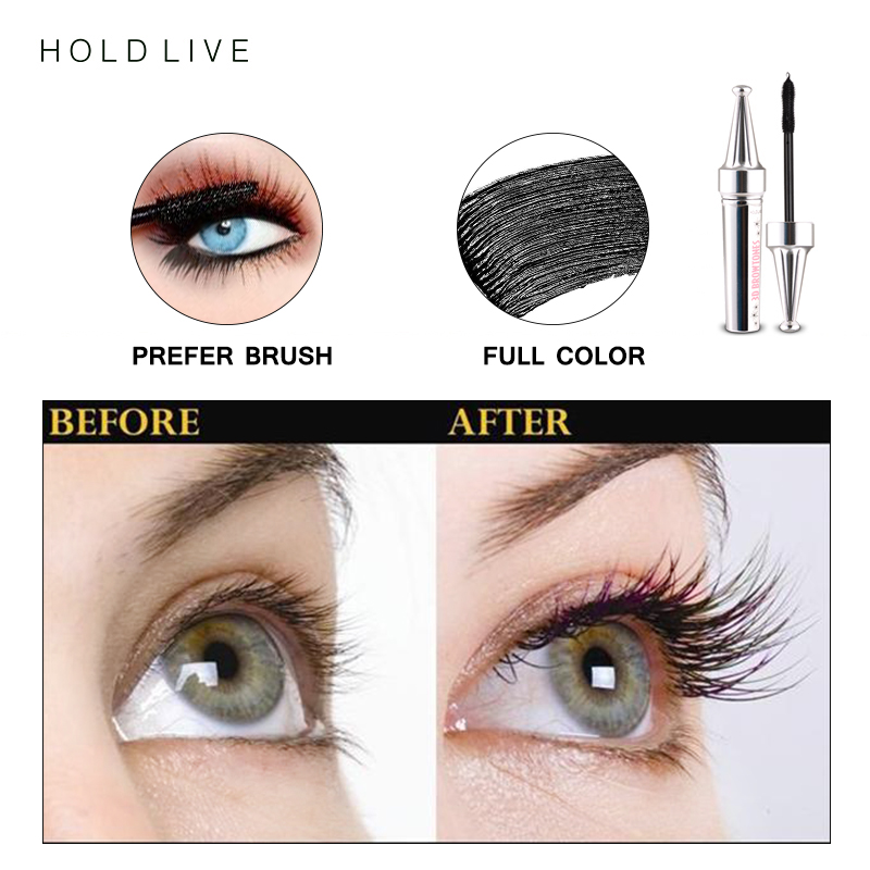 HOLD LIVE 3D Fiber Eyelashes Mascara Makeup Lengthening Curling Eye Lashes Black Waterproof Fiber Mascara Volume Eyelash Make Up