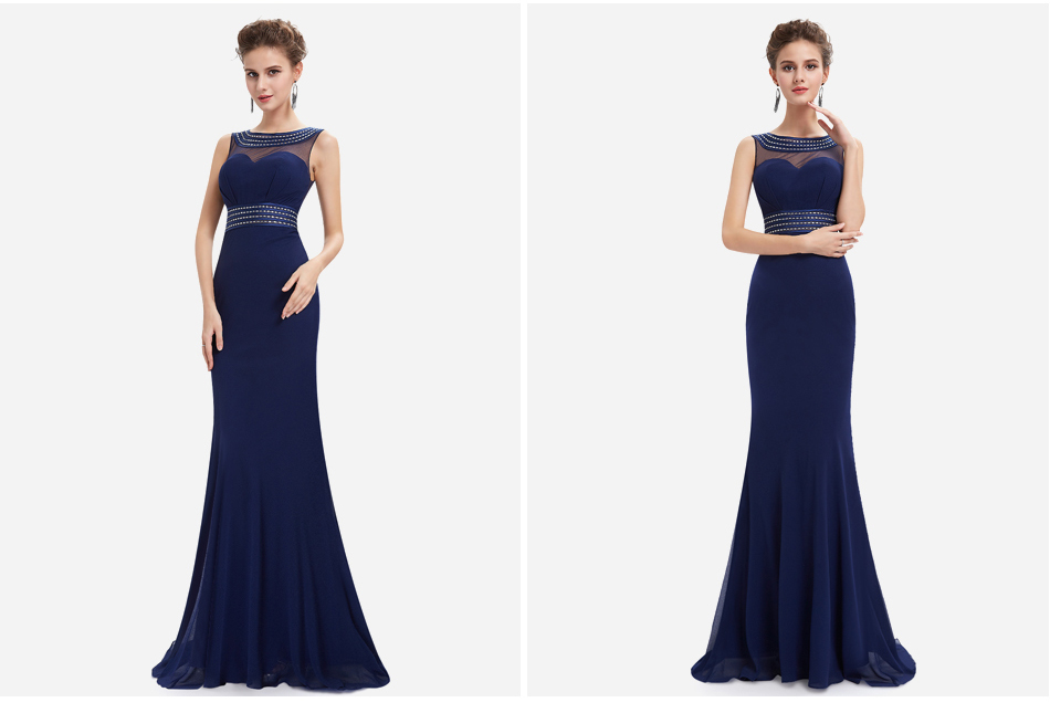 [Beads Easy To Fall] Women Evening Dresses Ever Pretty EP08734 Mermaid Evening Dress See Through Gowns Evening Party Dresses 6