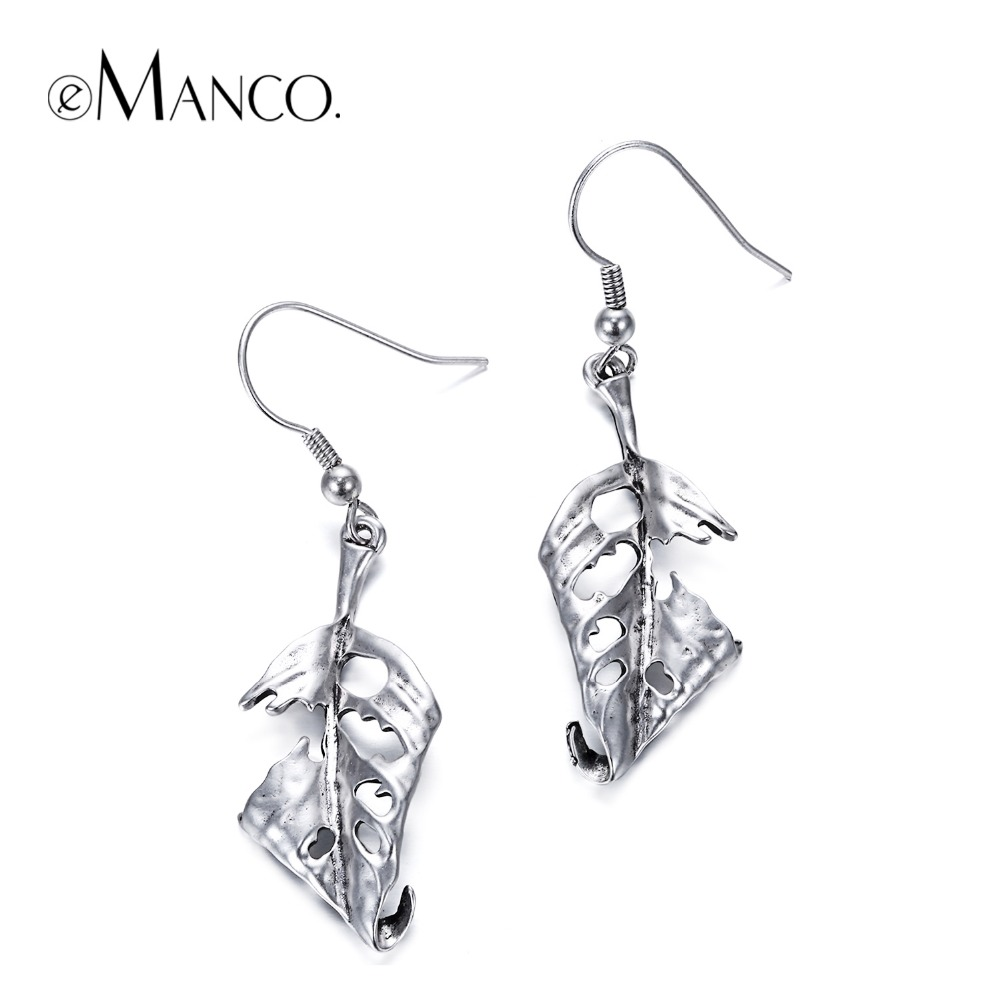 eManco Vintage Style Hook Drop Dangle Hanging Earrings for Women Ethnic Antique Silver Plated Leaf Skeleton Earring Jewelry