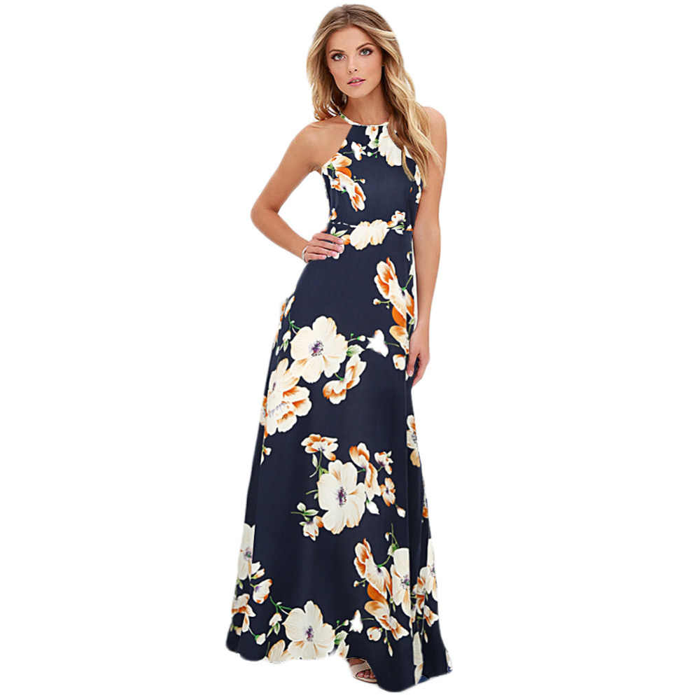 1dee7d580cc Summer Maxi Dress Women New Sexy Halter Neck Floral Print Sleeveless Beach  Holiday Long Slip Boho
