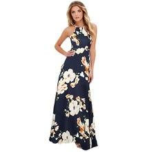 bf2e39ecf27c1 Летнее платье Макси Новинки для женщин Сексуальная Холтер шеи Цветочный  Принт без рукавов пляжные длинные скольжения