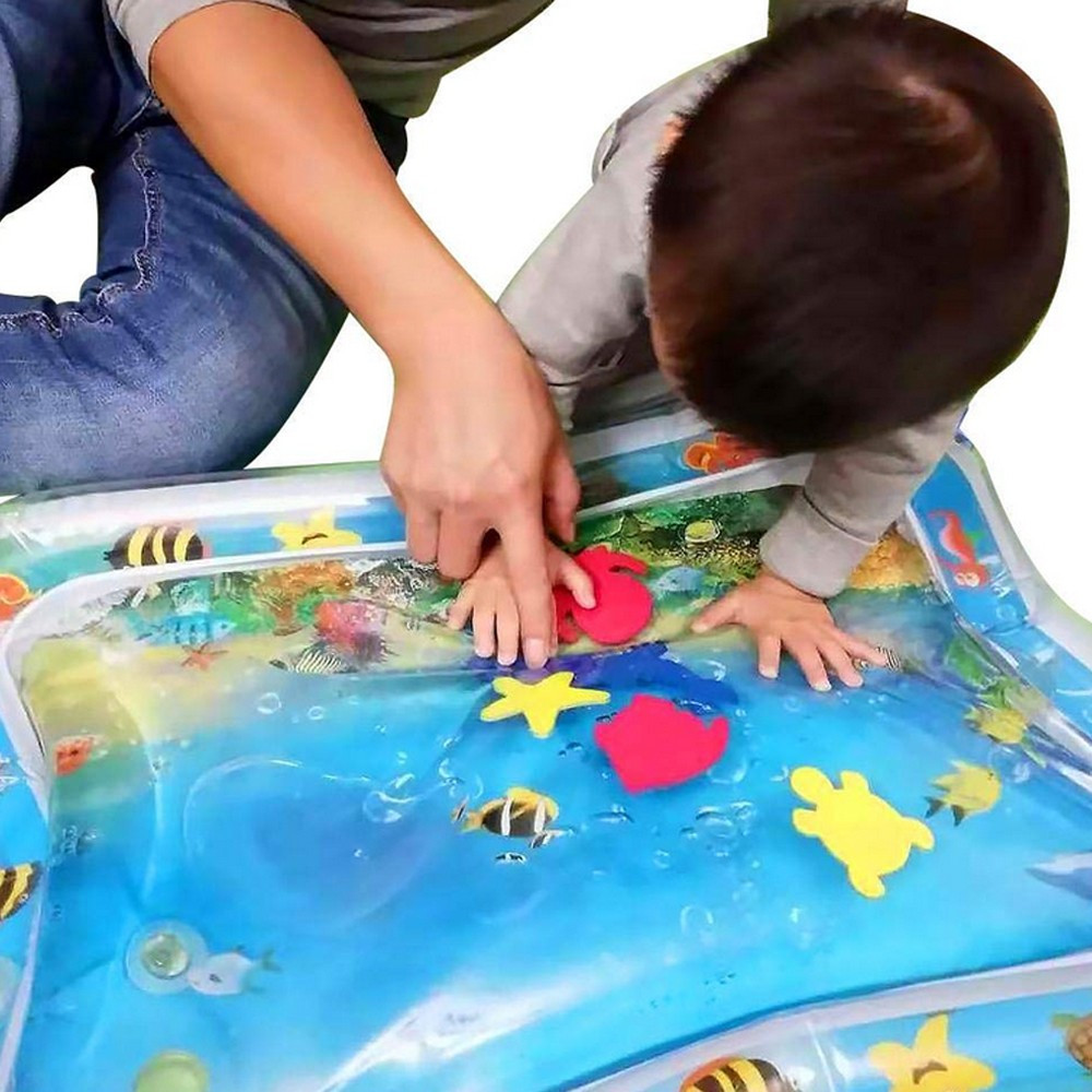 Play Mats Toys Pvc Baby Inflatable Water Cushion Playing Summer Baby Water Pad Toy Ice Splash Pad Fun 0.3 Mm Thickness Folds Kid