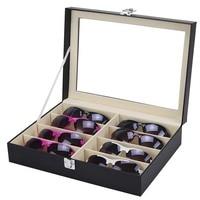 8 Grid Sunglasses Organizer Glasses Storage Box PU Leather Eyeglass Box Portable Travel Glasses Display Box