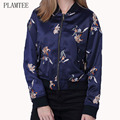 Embroidered Floral Jacket Coats Women 2017 New Women Basic Coats Ladies Casual Zipper Bomber Jacket Femme Chaqueta Mujer Color 2