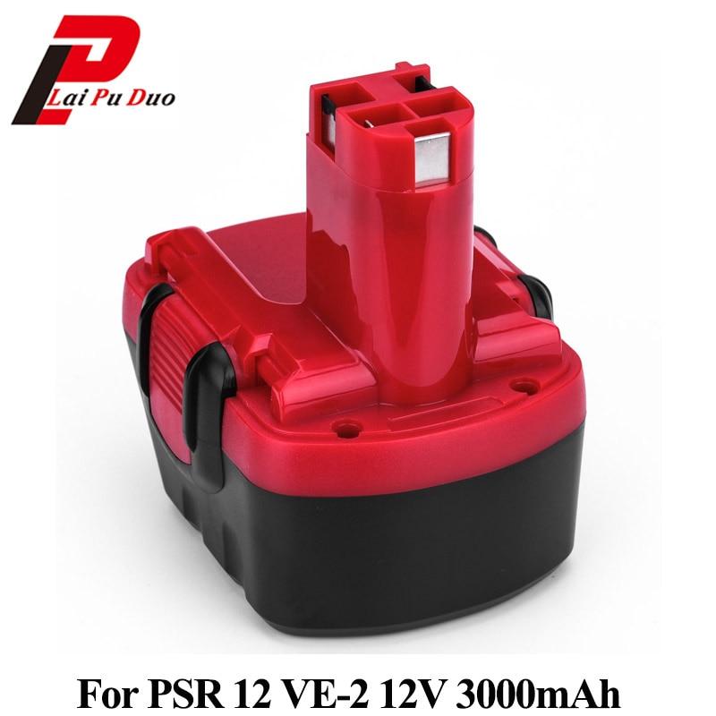 For Bosch GSR 12V 3.0Ah Ni-MH Replacement Power Tool Battery For PSR 12V PAG 12 VE-2 BAT043 BAT045 PSR 1200 26073 35395 BAT049 1 pc new 9 6v 2000mah replacement battery for bosch bh984 psr gsr 9 6 bat048 bpt1041 bat100 vhg17 t50