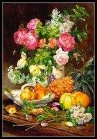 Hand für stickerei DIY DMC Hohe Qualität-Gezählt Kreuz stich Kits 14 ct ölgemälde-Rosen in einer Vase