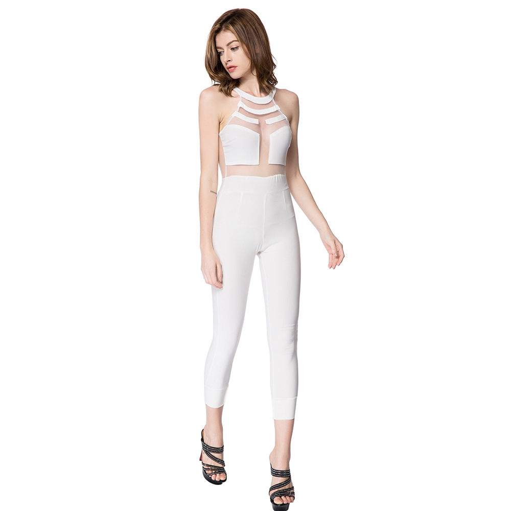 Summer Rompers Womens Jumpsuit 2017 Solid White High Waisted Long Overalls For Women Playsuits ...